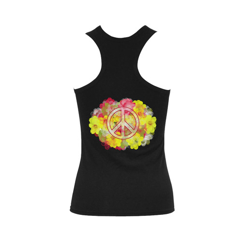 Flower Power Peace Women's Shoulder-Free Tank Top (Model T35)