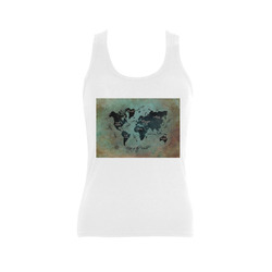 world map Women's Shoulder-Free Tank Top (Model T35)
