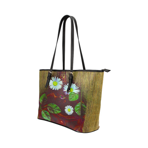 Peace bat in the dark Leather Tote Bag/Small (Model 1651)