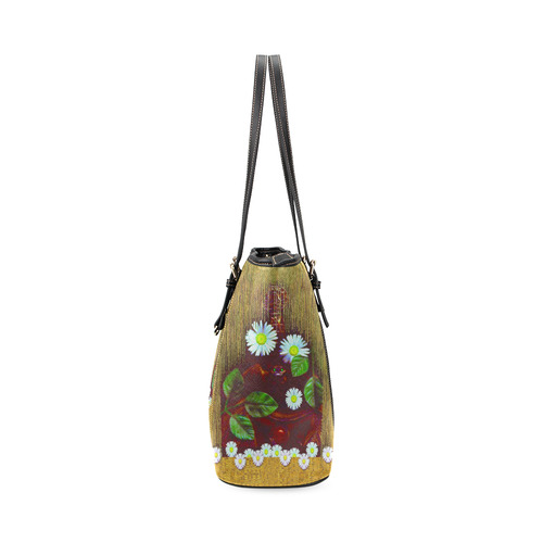 Peace bat in the dark Leather Tote Bag/Large (Model 1640)