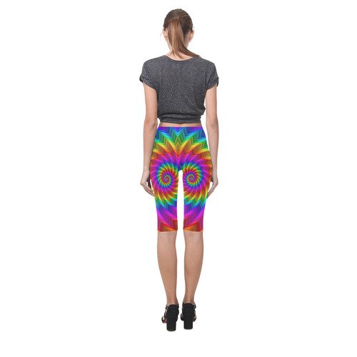 Psychedelic Rainbow Spiral Hestia Cropped Leggings (Model L03)