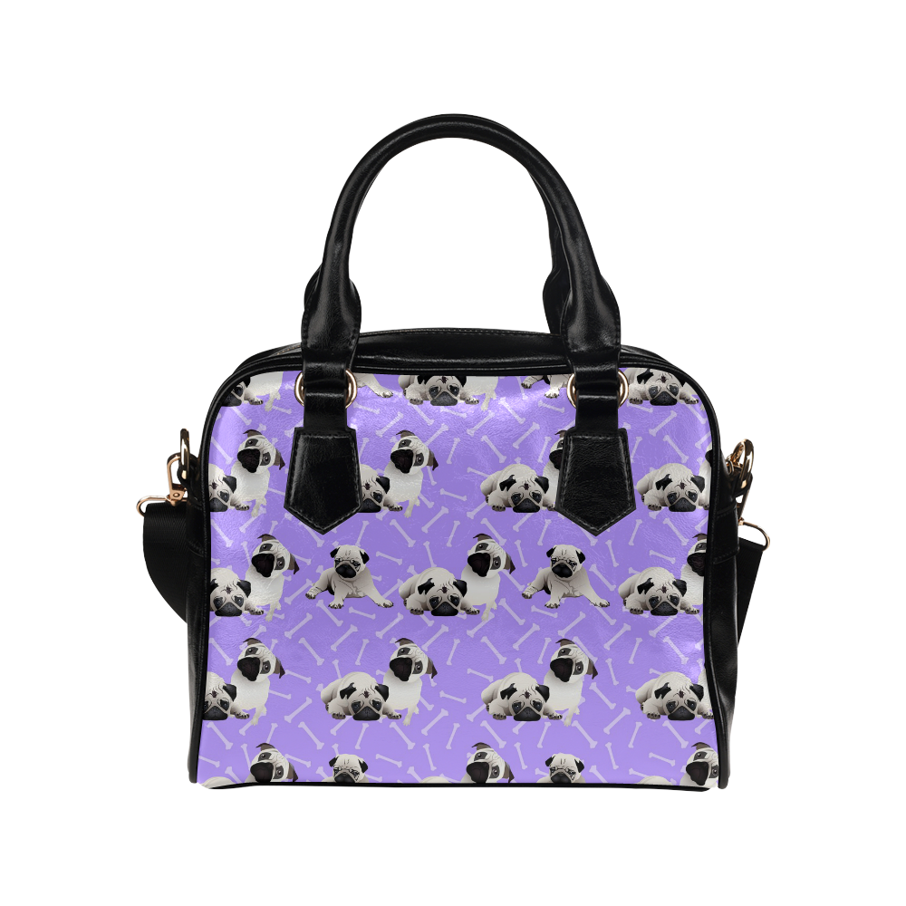 Pugs on Purple Bones Shoulder Handbag (Model 1634)