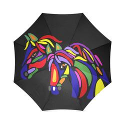 Cool Artsy Horses Abstract Art Foldable Umbrella (Model U01)