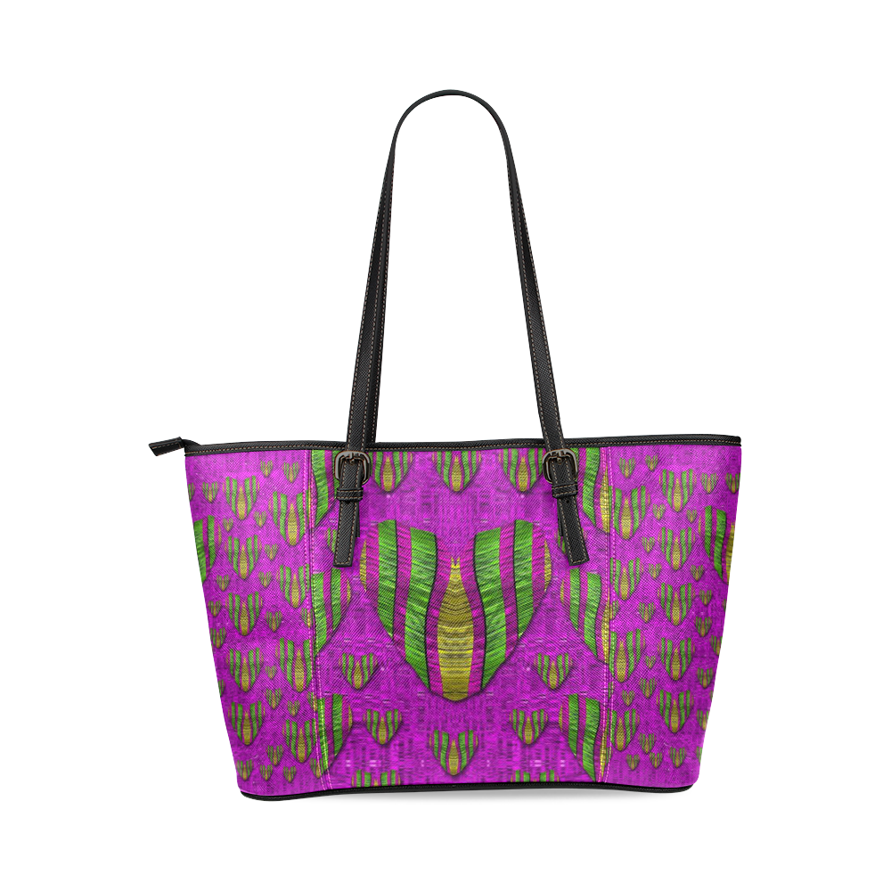 Love in colors and heart in rainbows Leather Tote Bag/Large (Model 1640)