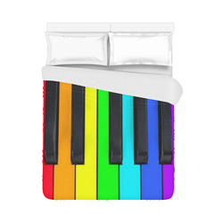 "Rainbow Piano Keyboard Colors Duvet Cover 86""x70"" ( All-over-print)"