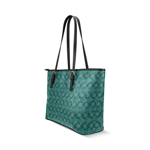 Celtic gothic knots in pop art Leather Tote Bag/Large (Model 1640)
