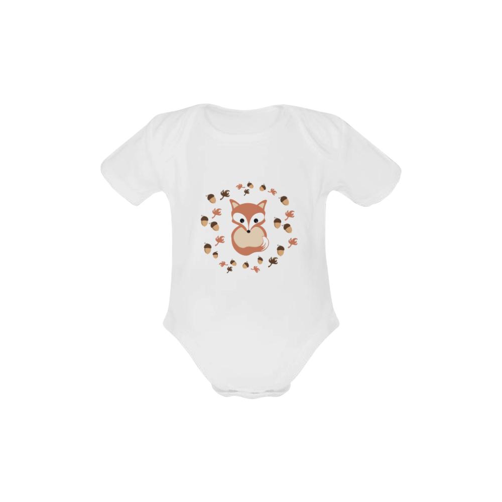 Fox in autumn Baby Powder Organic Short Sleeve One Piece (Model T28)