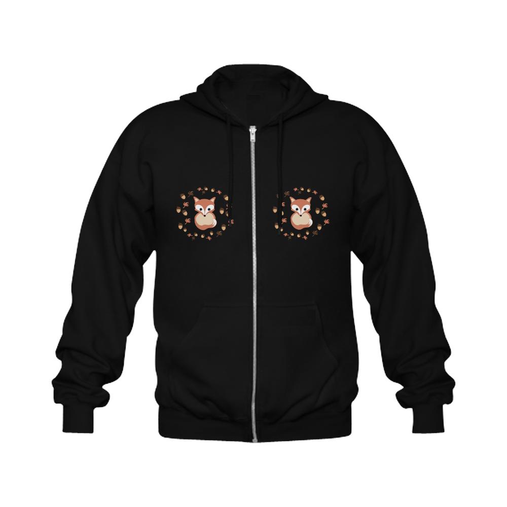 Fox in autumn Gildan Full Zip Hooded Sweatshirt (Model H02)