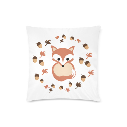 "Fox in autumn Custom Zippered Pillow Case 16""x16""(Twin Sides)"