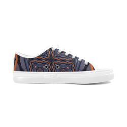 Industrial Blue & Orange 2 Women's Canvas Zipper Shoes (Model 001)