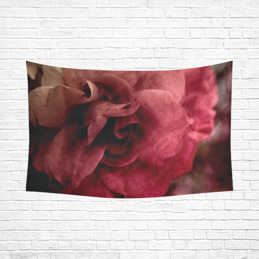 "Rose Cotton Linen Wall Tapestry 90""x 60"""
