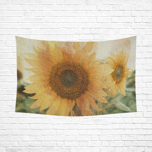"Sunflowers Cotton Linen Wall Tapestry 90""x 60"""