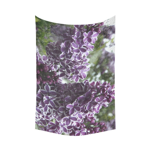 """Lilac flowers Cotton Linen Wall Tapestry 90""""x 60"""""""