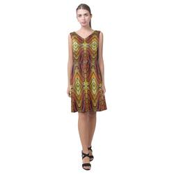 Orange Yellow Stained Glass Windows Chryseis Sleeveless Pleated Dress(Model D07)