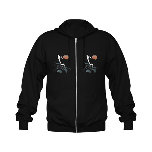 Orca illustration Gildan Full Zip Hooded Sweatshirt (Model H02)