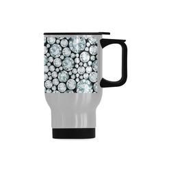 Luxurious white Diamond Pattern Travel Mug (Silver) (14 Oz)