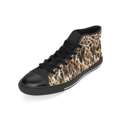 Misty Fur Coral - Jera Nour Men's Classic High Top Canvas Shoes /Large Size (Model 017)