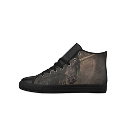 Dreamy Unicorn with brown grunge background Aquila High Top Microfiber Leather Women's Shoes (Model 027)