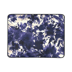 """abstract floral in deep indigo blue and white Beach Mat 78""""x 60"""""""