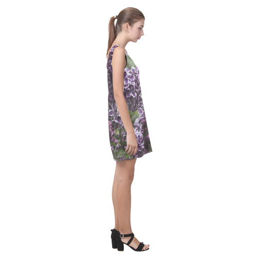 Lilac flowers Helen Sleeveless Dress (Model D10)