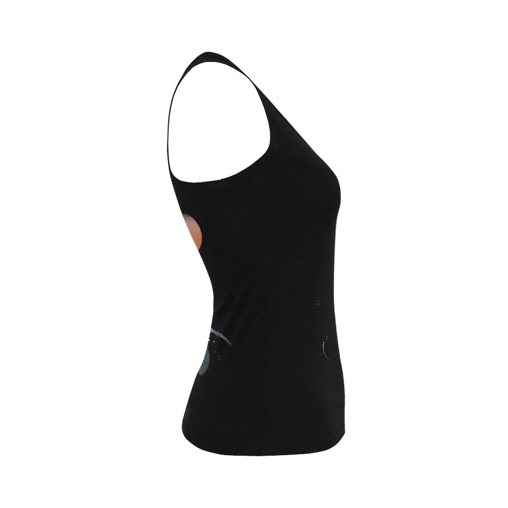 Orca illustration Women's Shoulder-Free Tank Top (Model T35)