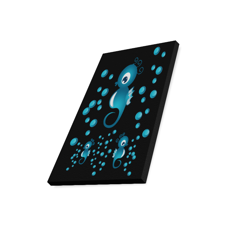 "Sea horses in blue Canvas Print 16""x20"""