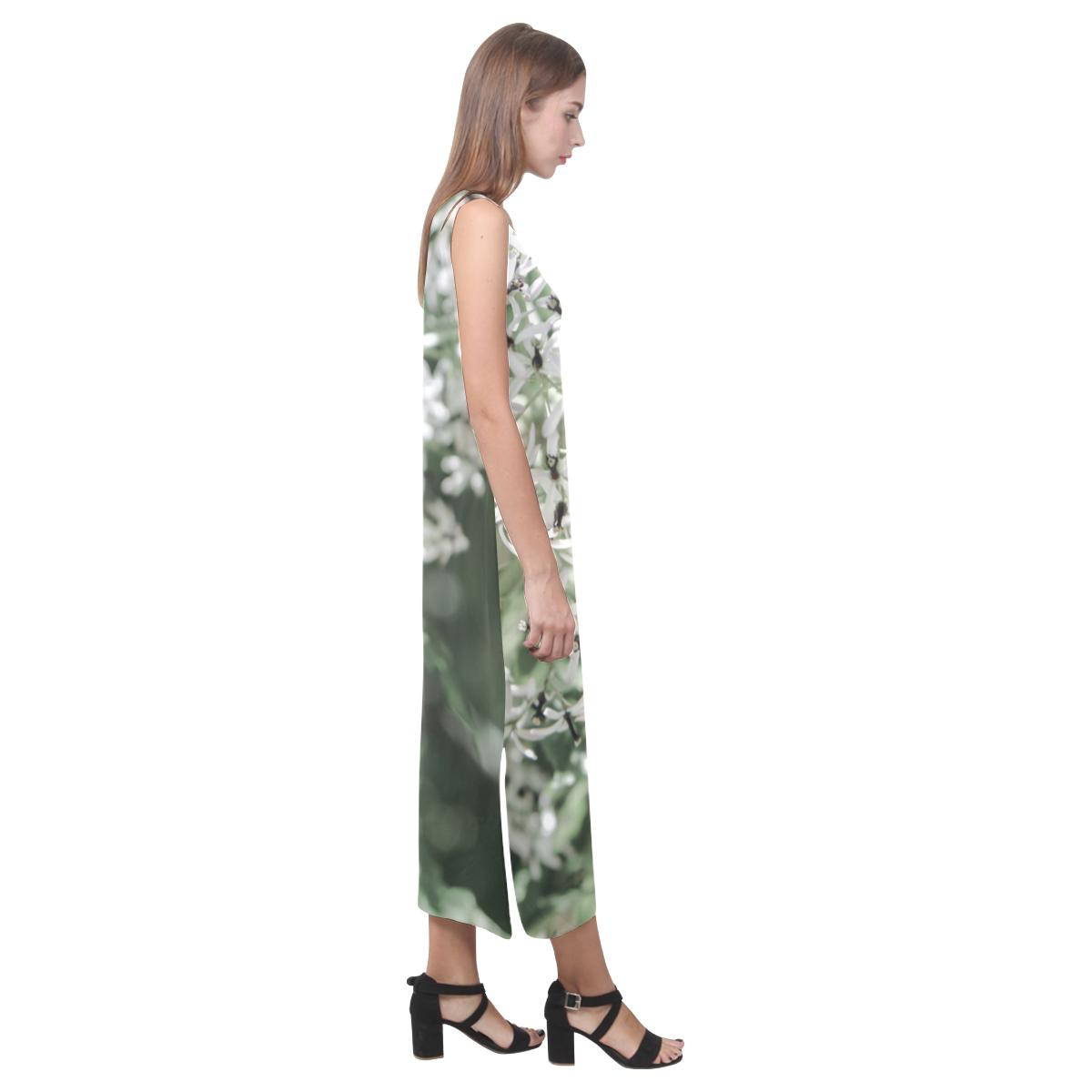 spring flowers Phaedra Sleeveless Open Fork Long Dress (Model D08)