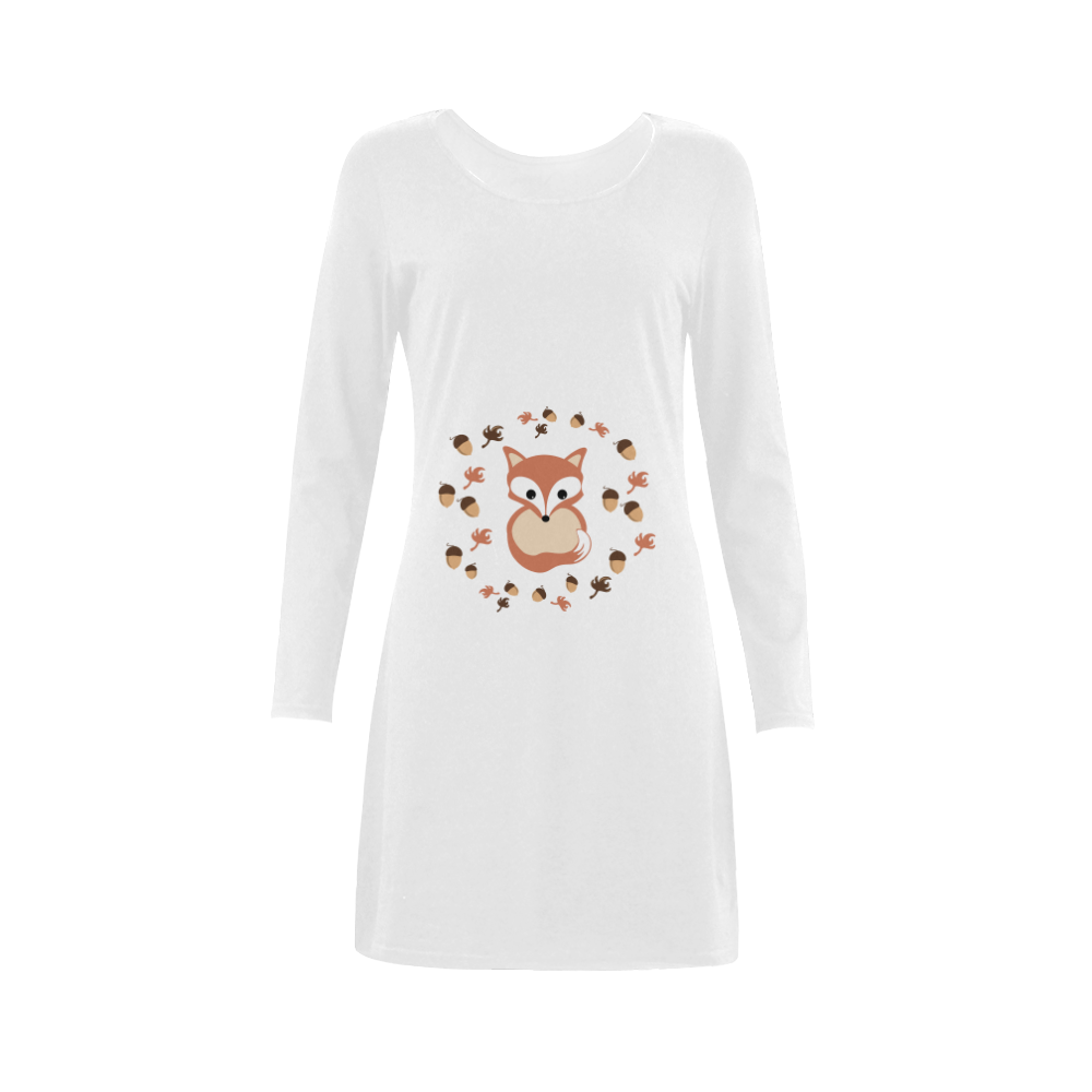 Fox in autumn Demeter Long Sleeve Nightdress (Model D03)