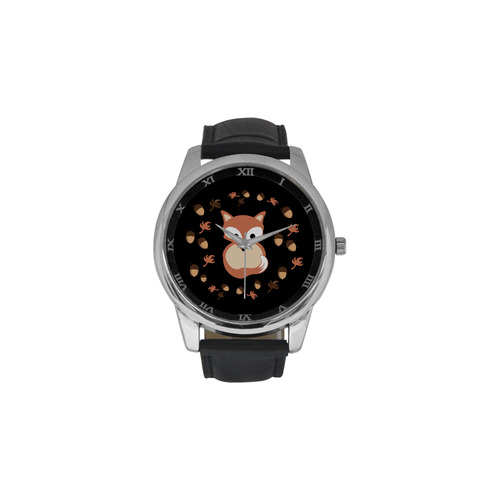 Fox in autumn Men's Leather Strap Large Dial Watch(Model 213)