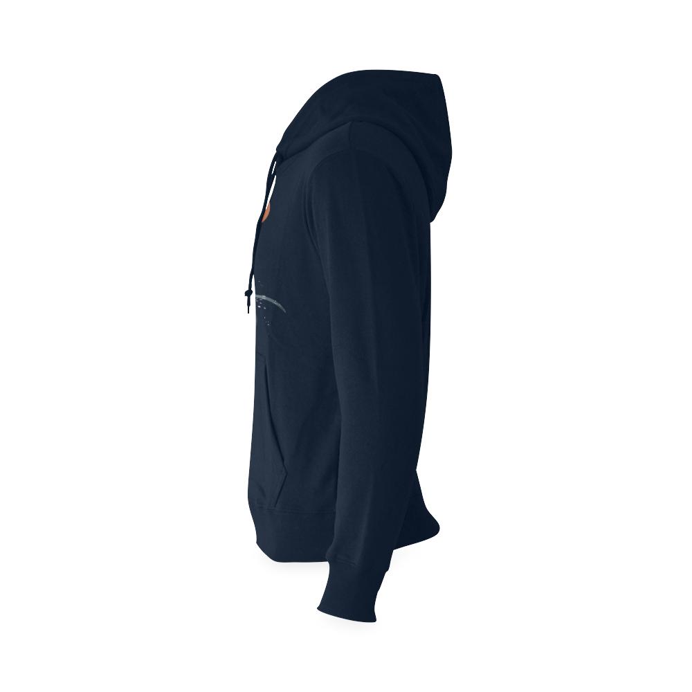Orca illustration Gildan Hoodie Sweatshirt (Model H03)
