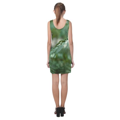Nature green Helen Sleeveless Dress (Model D10)