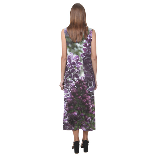Lilac flowers Phaedra Sleeveless Open Fork Long Dress (Model D08)