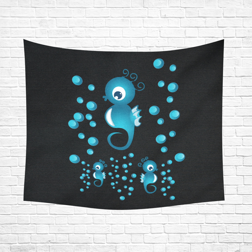 """Sea horses in blue Cotton Linen Wall Tapestry 60""""x 51"""""""