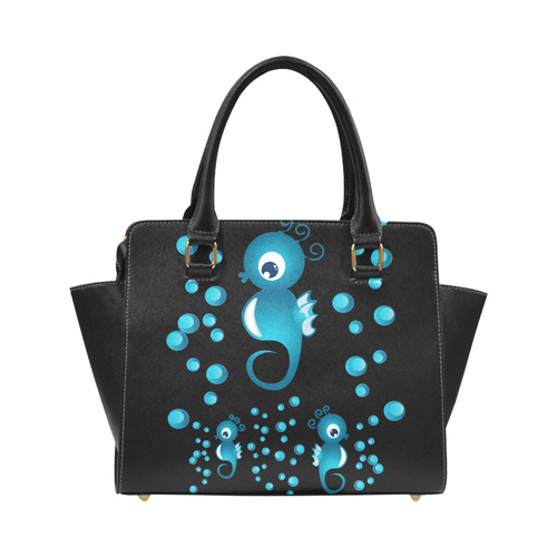 Sea horses in blue Classic Shoulder Handbag (Model 1653)