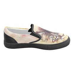 watercolor cat Men's Slip-on Canvas Shoes (Model 019)