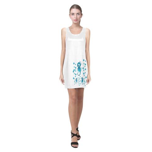 Sea horses in blue Helen Sleeveless Dress (Model D10)