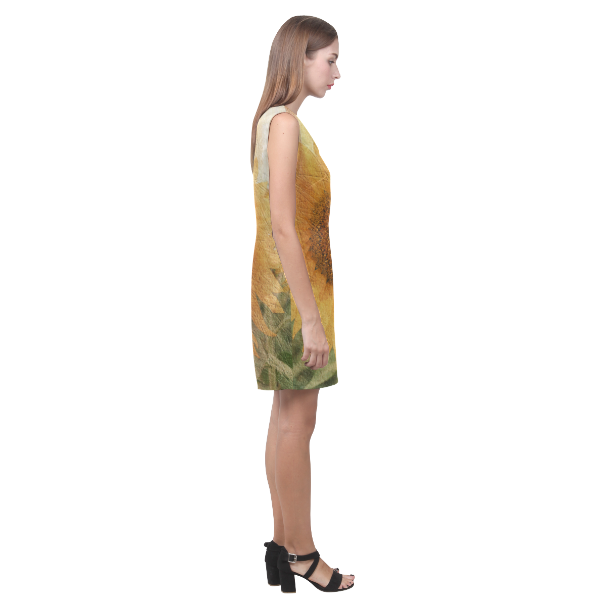 Sunflowers Phoebe Sleeveless V-Neck Dress (Model D09)