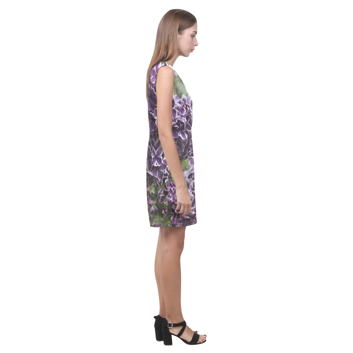 Lilac flowers Phoebe Sleeveless V-Neck Dress (Model D09)
