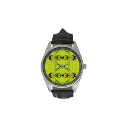 Sunny Day in the Tropics Fractal Abstract Men's Casual Leather Strap Watch(Model 211)