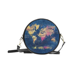 world map oceans and continents Round Sling Bag (Model 1647)