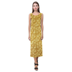 Vintage Floral Lace Leaf Yellow Phaedra Sleeveless Open Fork Long Dress (Model D08)