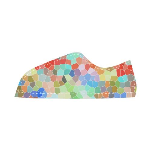Colorful Mosaik Blue Red Women's Canvas Shoes (Model 016)
