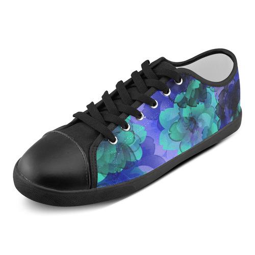 Blue Green Flower Power Blossom Women's Canvas Shoes (Model 016)