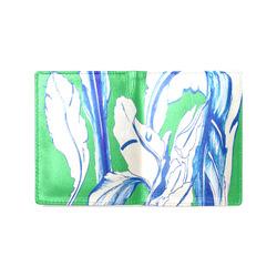 Blue Succulent green saint pattys Men's Leather Wallet (Model 1612)