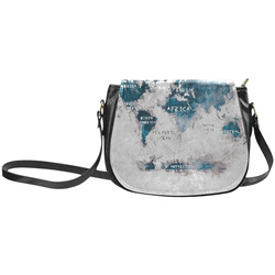 world map OCEANS and continents Classic Saddle Bag/Large (Model 1648)
