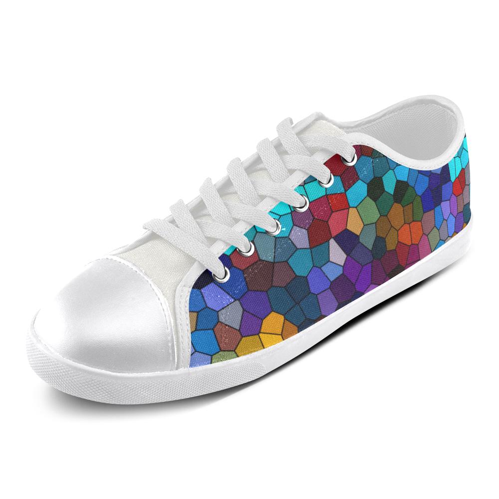 Colorful Mosaic Women's Canvas Shoes (Model 016)