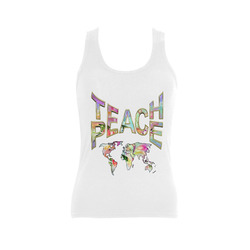 Teach Peace by Just kidding Women's Shoulder-Free Tank Top (Model T35)