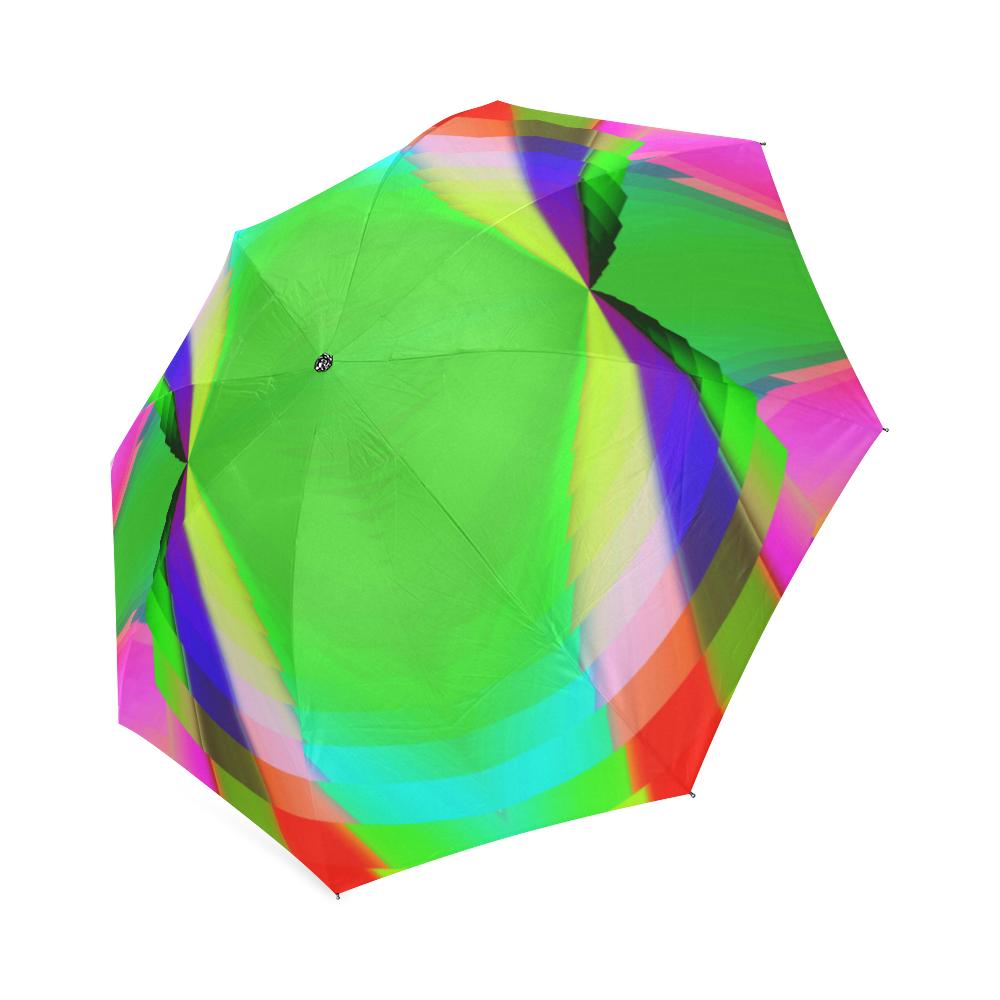 Multicolor Shimmering Fractal Design Foldable Umbrella (Model U01)