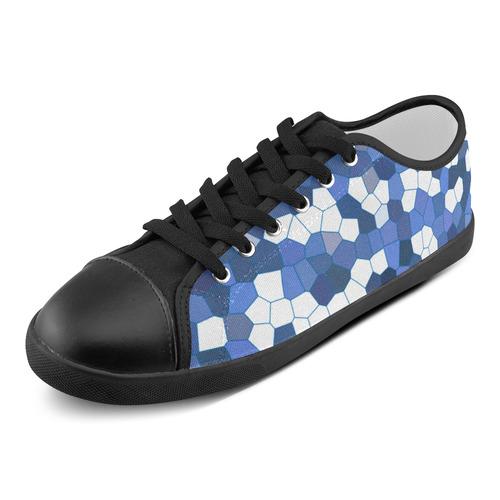 Blue White Mosaic Women's Canvas Shoes (Model 016)