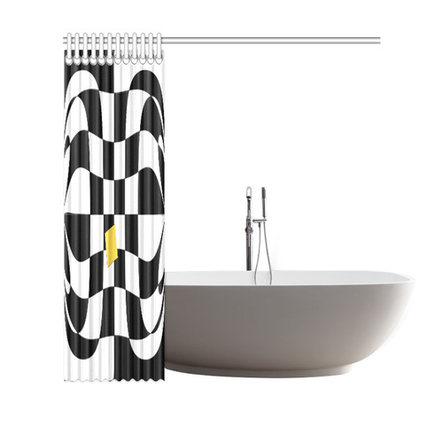 """Dropout Yellow Black and White Distorted Check Shower Curtain 69""""x70"""""""